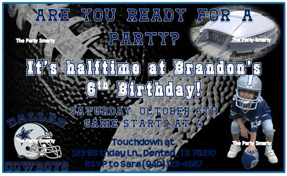 Dallas Cowboys Invitation Template Awesome Dallas Cowboys Birthday Invitation by thepartysmarty On Etsy