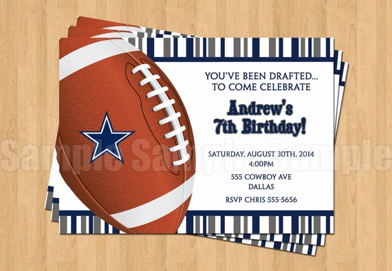 Dallas Cowboys Invitation Template Awesome Dallas Cowboys Football Birthday Party Invitations Sports