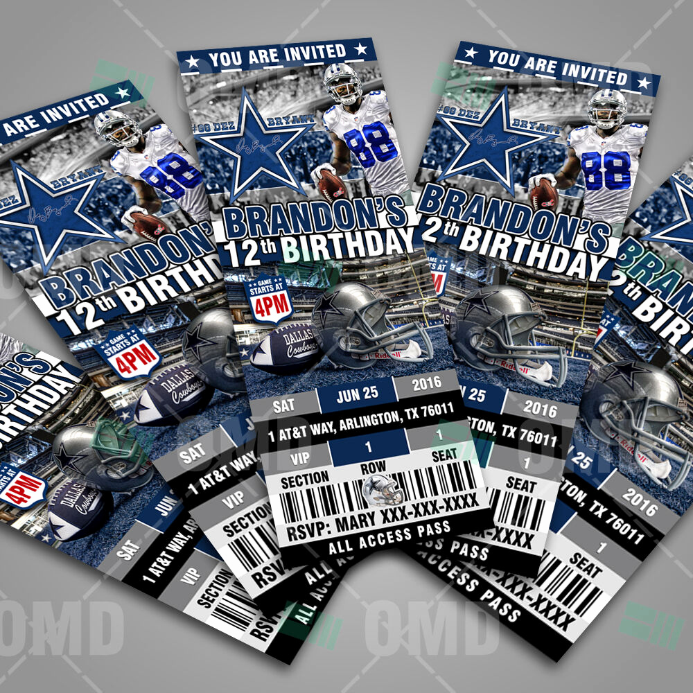 Dallas Cowboys Invitation Template Fresh Dallas Cowboys Football Ticket Style Sports Party
