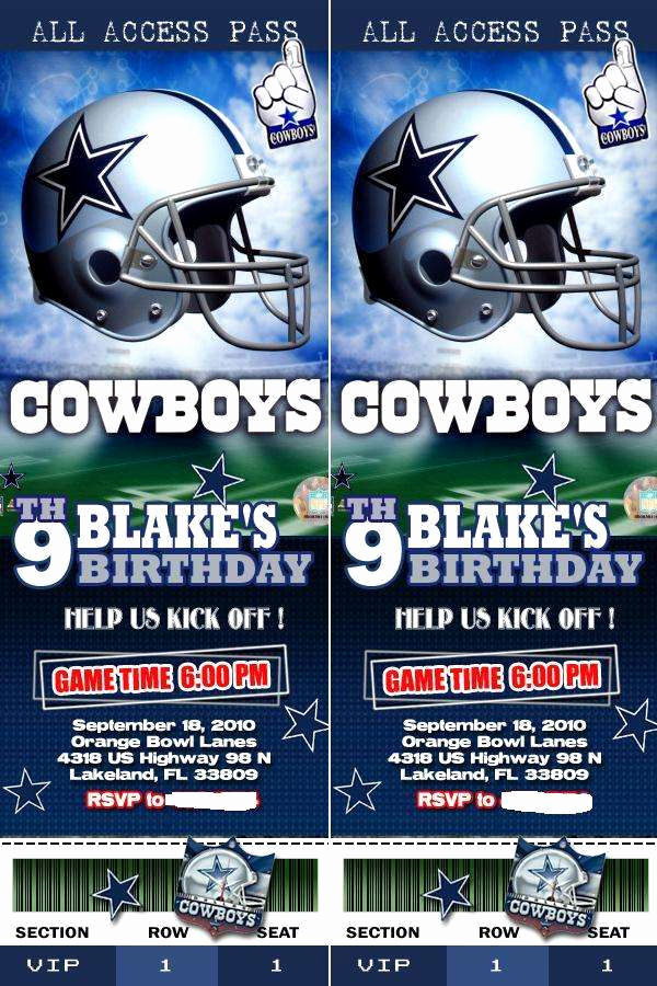 Dallas Cowboys Invitation Template Inspirational Dallas Cowboys Birthday Party Ideas