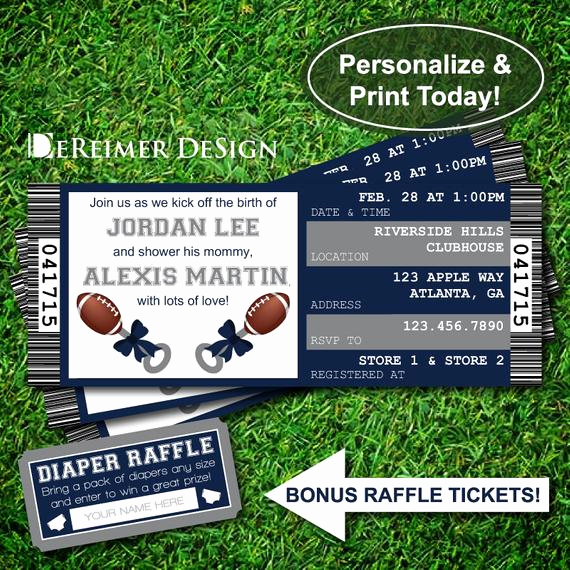 Dallas Cowboys Invitation Template Inspirational Sports Ticket Baby Boy Shower Invitation Little All Star Baby
