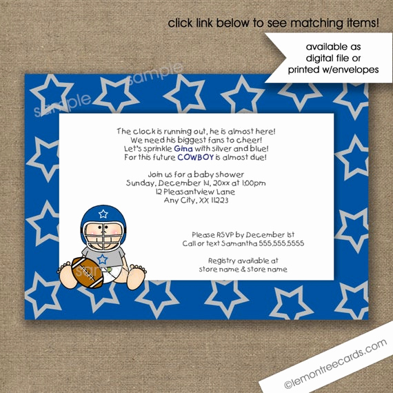 Dallas Cowboys Invitation Template Luxury Dallas Cowboys Baby Shower Invitations Football by
