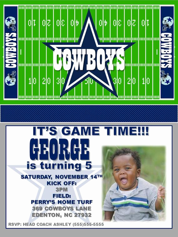 Dallas Cowboys Invitation Template Luxury Dallas Cowboys Birthday Invitations by Paintedpelicanink