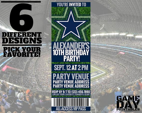 Dallas Cowboys Invitation Template Luxury Dallas Cowboys Invitation Printable by Gamedayprintable On
