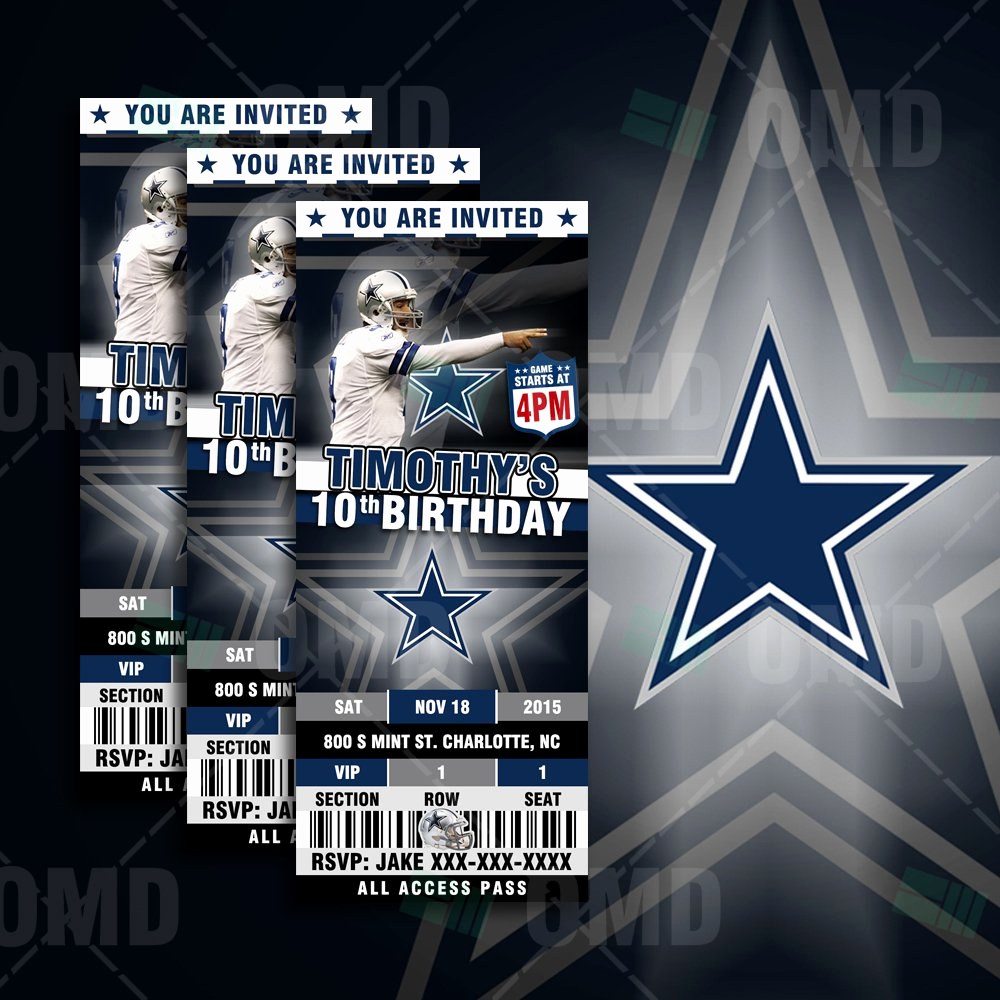 Dallas Cowboys Invitation Template New Dallas Cowboys Birthday Invitations
