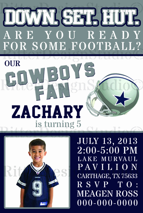 Dallas Cowboys Invitation Template Unique Dallas Cowboys Football Birthday Invitation Digital File