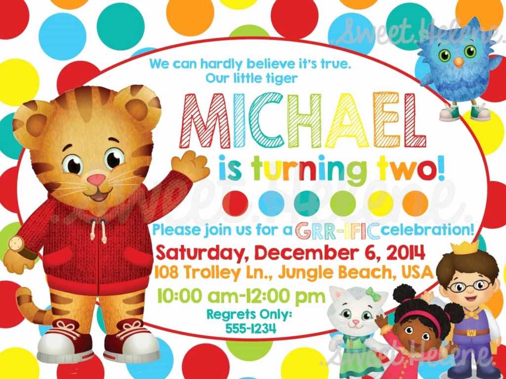 Daniel Tiger Birthday Invitation Awesome Daniel Tiger Birthday Invitations Cobypic