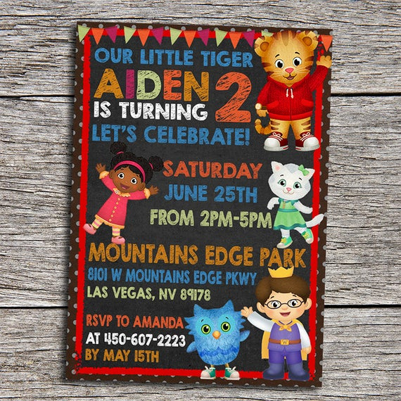 Daniel Tiger Birthday Invitation Best Of Daniel Tiger Birthday Invitation Diy by Dottydigitalparty