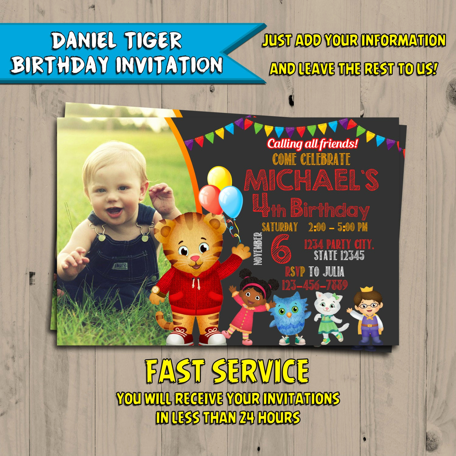 Daniel Tiger Birthday Invitation Best Of Daniel Tiger Invitation Chalkboard Daniel Tiger Birthday
