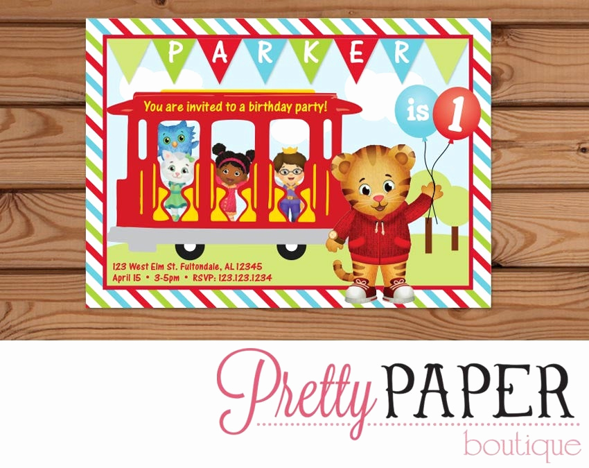 Daniel Tiger Birthday Invitation Elegant Daniel Tiger Birthday Invitation Digital or Printed