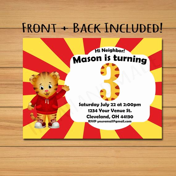 Daniel Tiger Birthday Invitation Elegant Daniel Tiger Birthday Party Invitation 5x7 Digital File Simple
