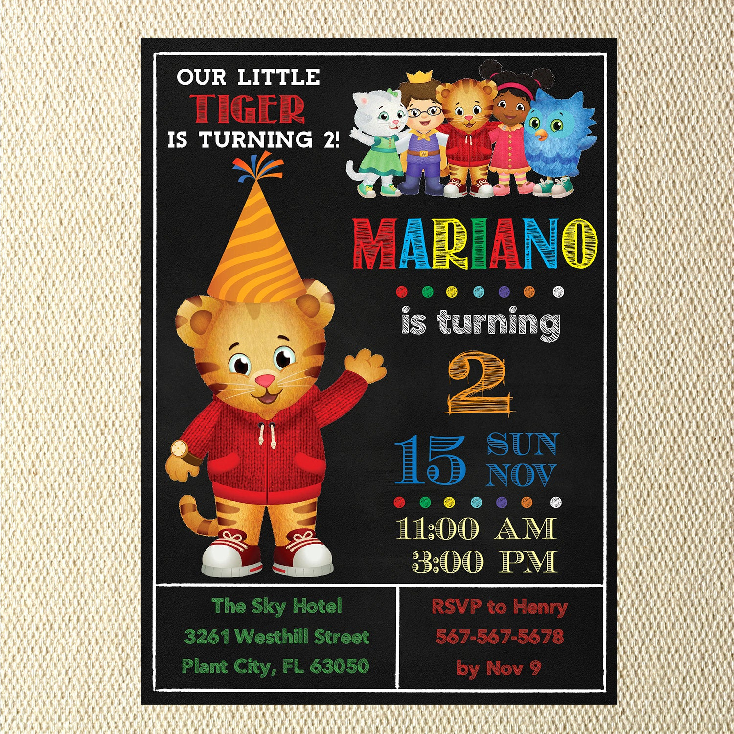 Daniel Tiger Birthday Invitation Elegant Daniel Tiger Invitation Daniel Tiger Birthday by