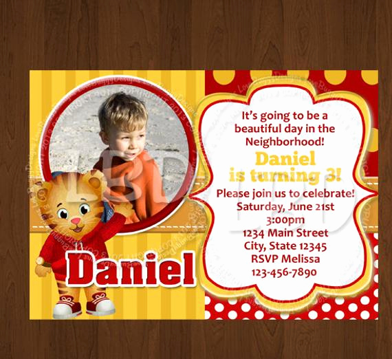 Daniel Tiger Birthday Invitation Elegant Daniel Tiger Invitation New Daniel Tiger by Lovebuggydesigns