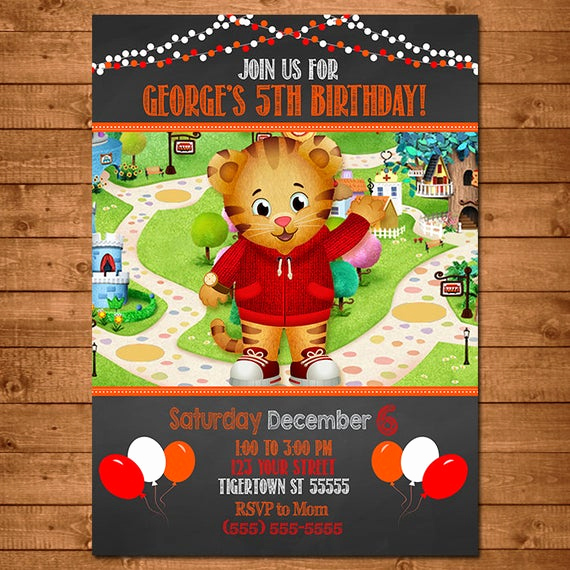 Daniel Tiger Birthday Invitation Fresh Daniel Tiger Invitation Chalkboard theme Daniel Tiger