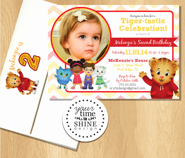 Daniel Tiger Birthday Invitation Inspirational Daniel Tiger Birthday Invitations with Custom Printed