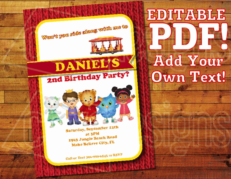 Daniel Tiger Birthday Invitation Inspirational Printable Daniel Tiger Invitation for Daniel Tiger Birthday