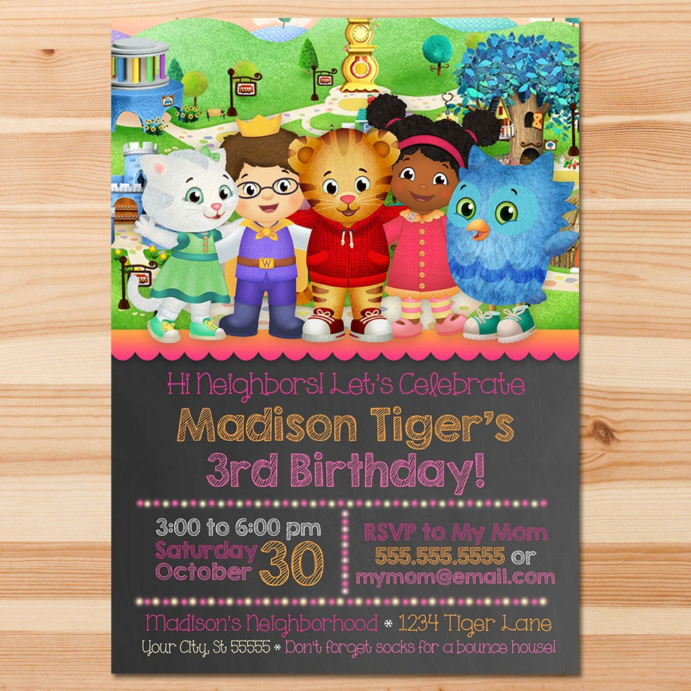 Daniel Tiger Birthday Invitation Unique Daniel Tiger Birthday Invite Pink Chalkboard Girl Daniel