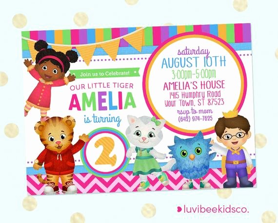 Daniel Tiger Birthday Invitation Unique Daniel Tiger Party Invitation Pink & Purple Girl Style
