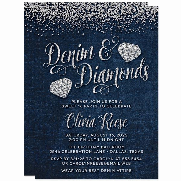 Denim and Diamonds Invitation Awesome Sweet 16 Party Invitations Denim & Diamond Gems