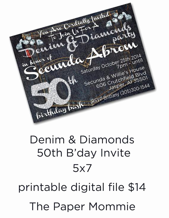 Denim and Diamonds Invitation Beautiful Denim and Diamonds 50th Birthday Bash Invite