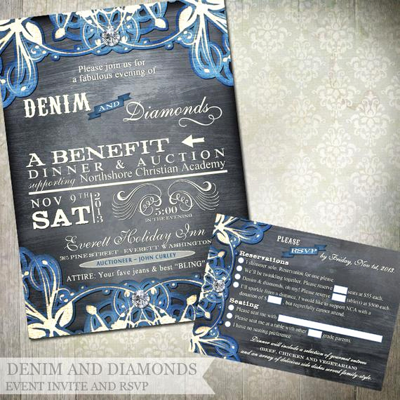 Denim and Diamonds Invitation Beautiful Denim and Diamonds event Invitation and Rsvp Printable Party