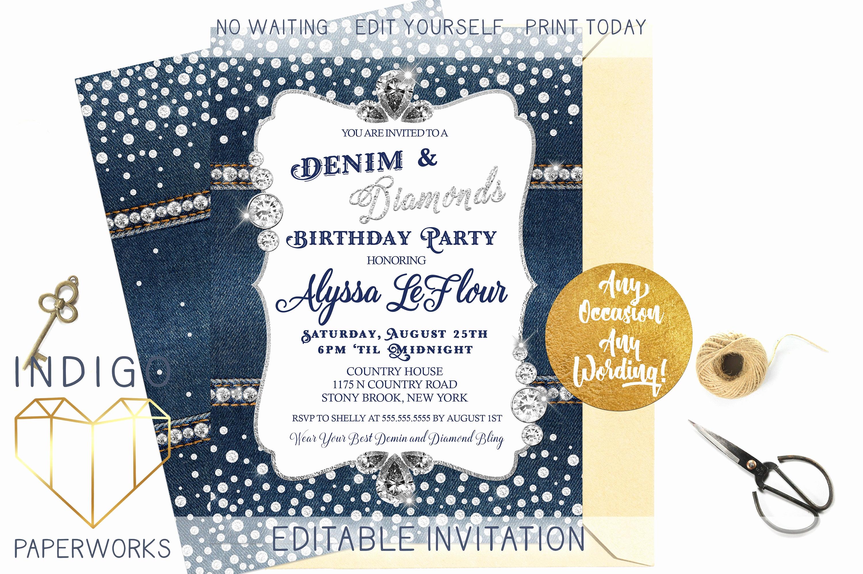 Denim and Diamonds Invitation Beautiful Denim and Diamonds Party Invitation Blue Jeans Bling