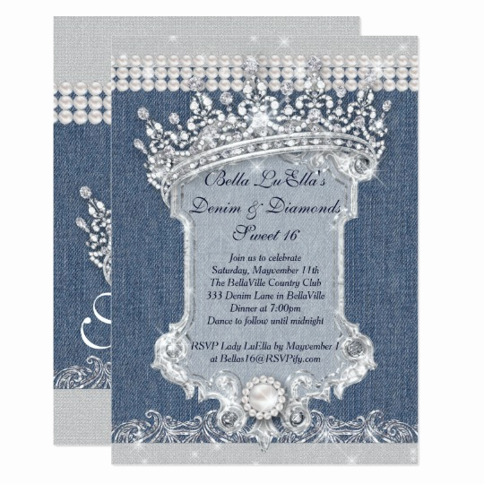 Denim and Diamonds Invitation Beautiful Denim and Diamonds Party Invitations