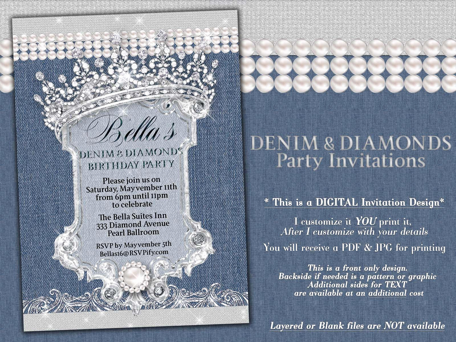 Denim and Diamonds Invitation Beautiful Denim and Diamonds Sweet 16 Invitations Western Birthday