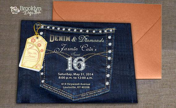 Denim and Diamonds Invitation Best Of Denim and Diamonds Denim Pocket with Bling by