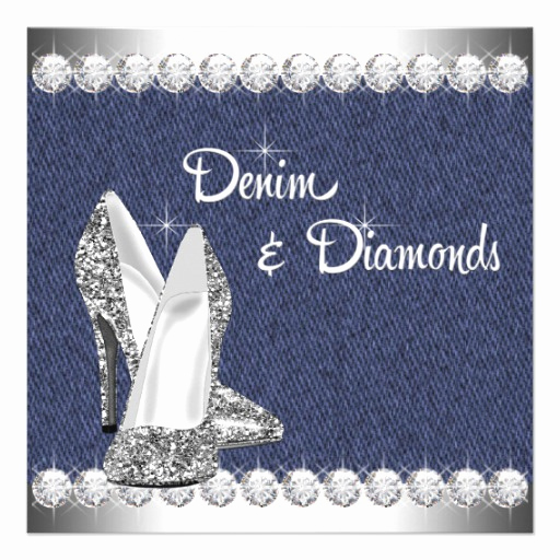 "Denim and Diamonds Invitation Elegant Denim and Diamonds Birthday Party 5 25"" Square Invitation"