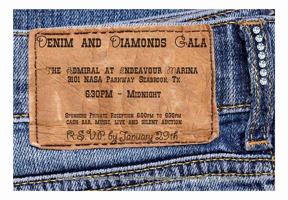 Denim and Diamonds Invitation Elegant Denim and Diamonds Invitation