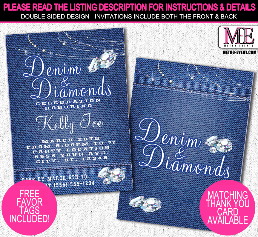 Denim and Diamonds Invitation Elegant Denim and Diamonds Invitations Metro events