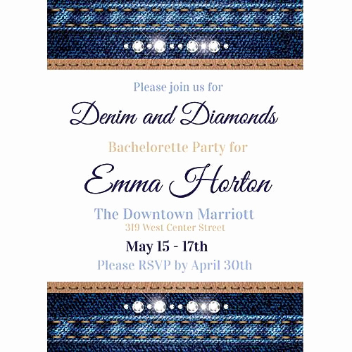 Denim and Diamonds Invitation Fresh Denim & Diamonds Invitations Stumps