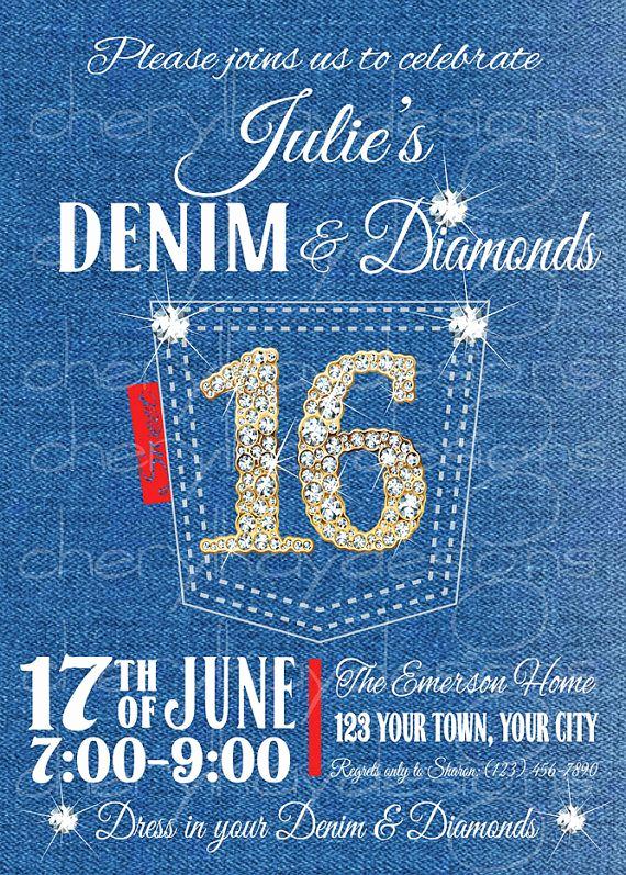 Denim and Diamonds Invitation Inspirational Denim & Diamonds Sweet 16 Birthday Invitation by