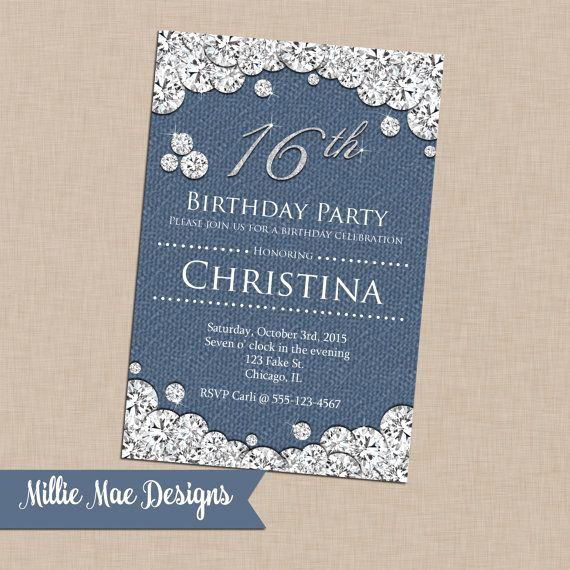 Denim and Diamonds Invitation Inspirational Denim Diamonds Birthday Invitation 50th by Lovebuggydesigns