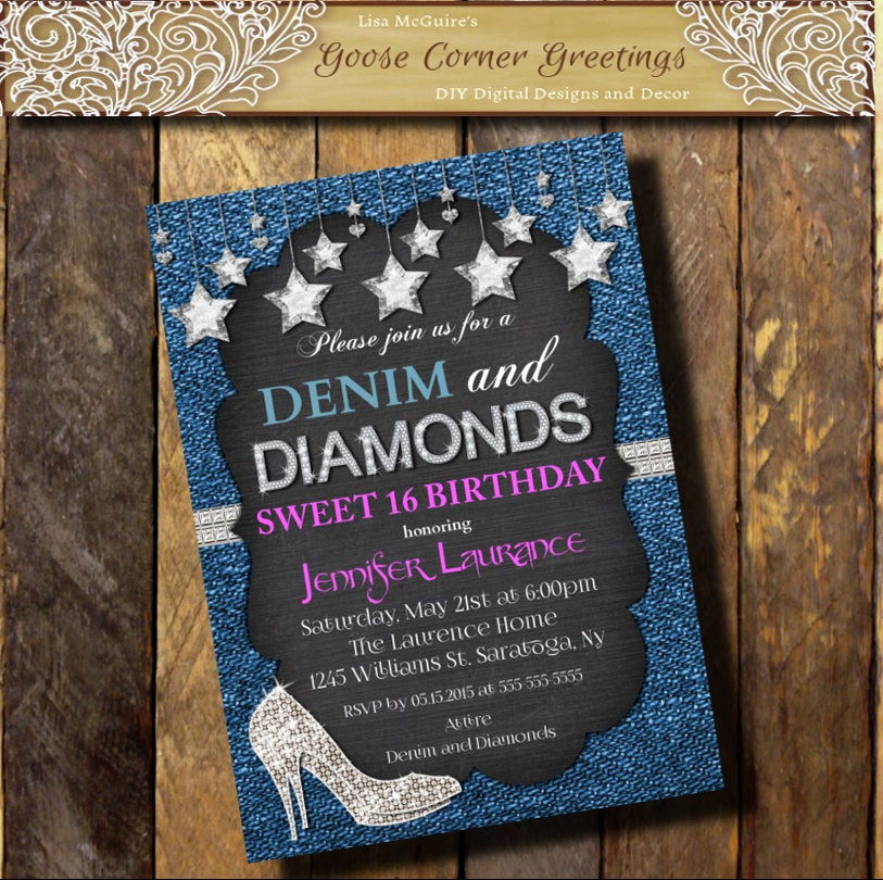 Denim and Diamonds Invitation Lovely Denim & Diamonds Hot Pink Invitation Sweet 16 21st 30th 40th