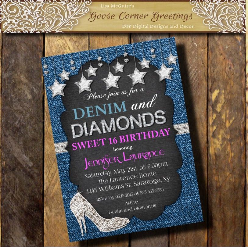 Denim and Diamonds Invitation Lovely Denim & Diamonds Hot Pink Invitation Sweet 16 21st 30th 40th