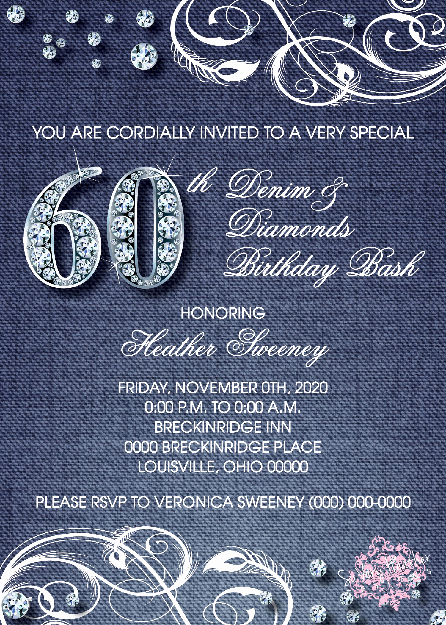 Denim and Diamonds Invitation Lovely Denim and Diamonds Adult Birthday Party Invitation