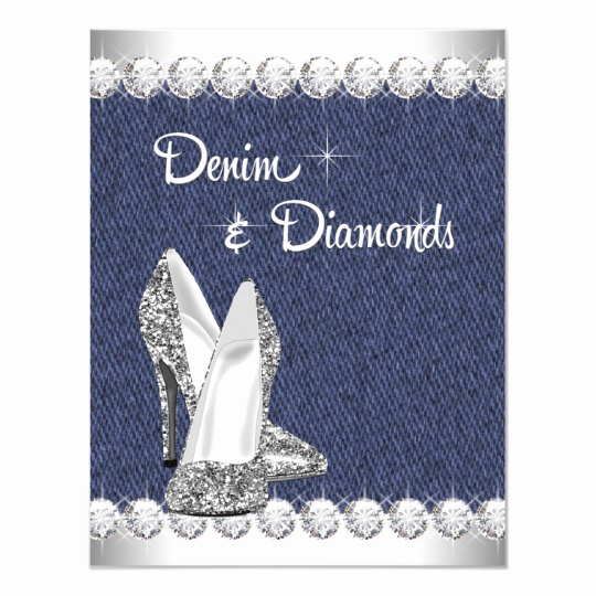 Denim and Diamonds Invitation Lovely Denim and Diamonds Birthday Party Invitations