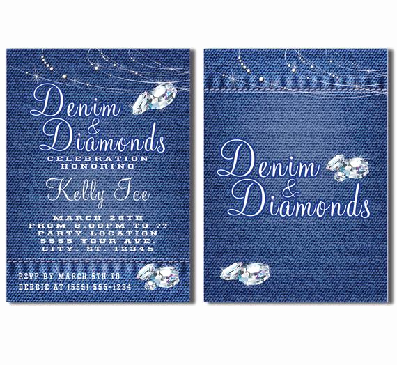 Denim and Diamonds Invitation Lovely Denim and Diamonds Party Invitations Printable Invitation
