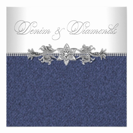 Denim and Diamonds Invitation Templates Beautiful Personalized Denim and Diamond Invitations