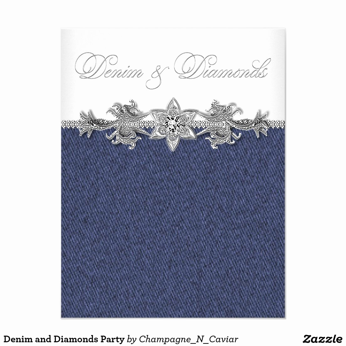 Denim and Diamonds Invitation Templates Best Of Denim and Diamonds Party Invitation Zazzle