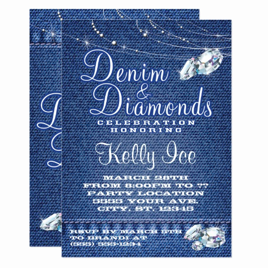 Denim and Diamonds Invitation Templates Best Of Denim and Diamonds Party Invitations