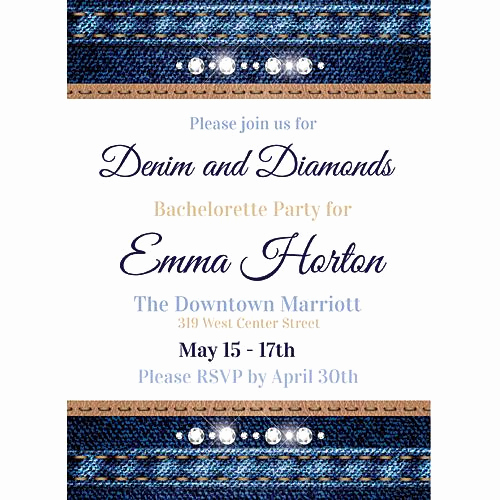 Denim and Diamonds Invitation Templates Fresh Denim & Diamonds Invitations Stumps