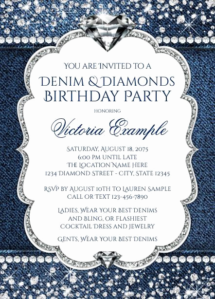 Denim and Diamonds Invitation Templates Inspirational Denim and Diamond Bling Birthday Party Invitations