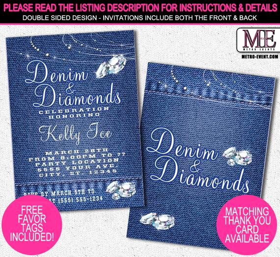 Denim and Diamonds Invitation Templates Inspirational Denim and Diamonds Party Invitations Printable Invitation