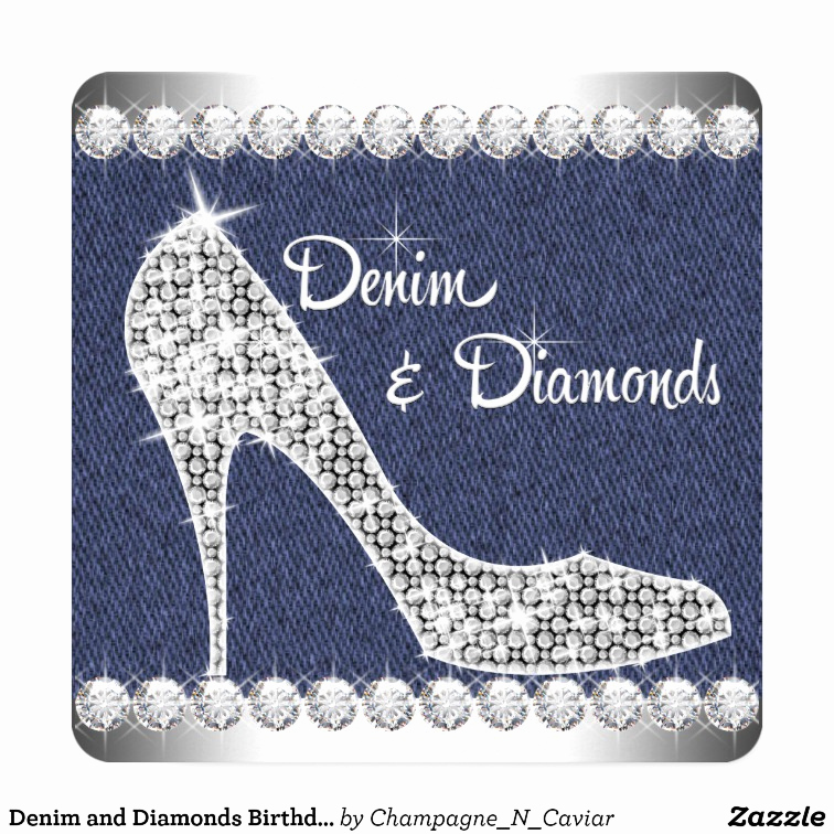 Denim and Diamonds Invitation Templates Lovely Denim and Diamonds Birthday Party Card