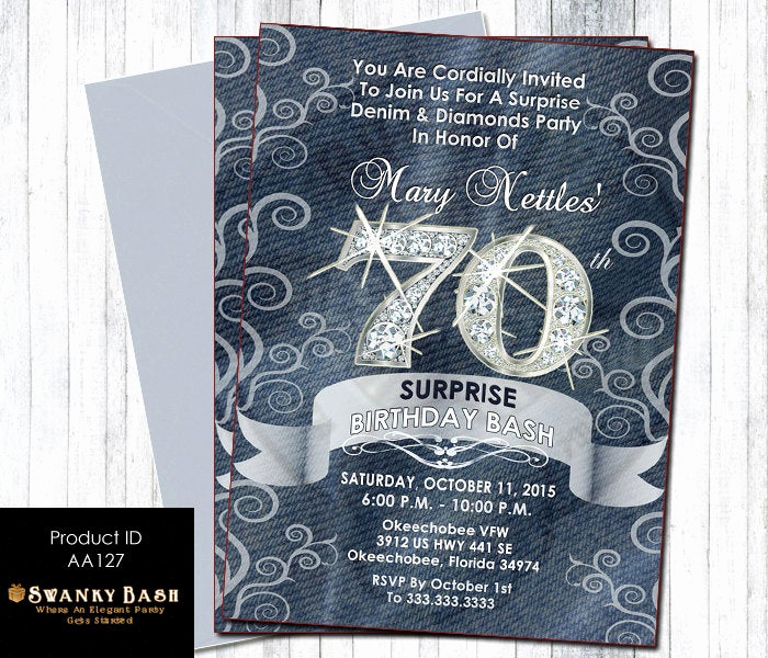 Denim and Diamonds Invitation Templates Lovely Denim and Diamonds Custom Designed Party Invitation Can Be