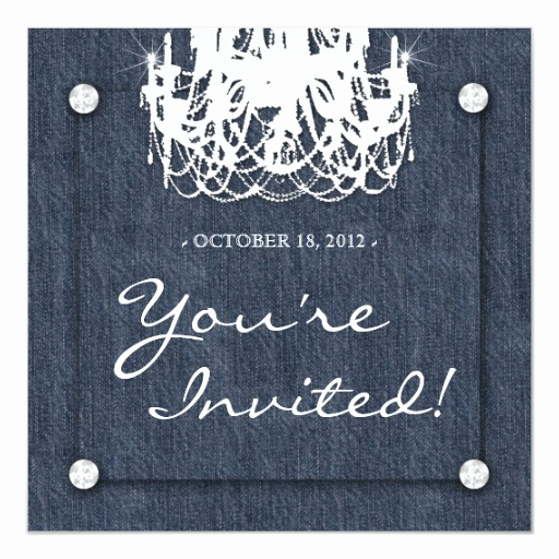 Denim and Diamonds Invitation Templates Lovely Denim N Diamonds Wedding Invitation Chandelier