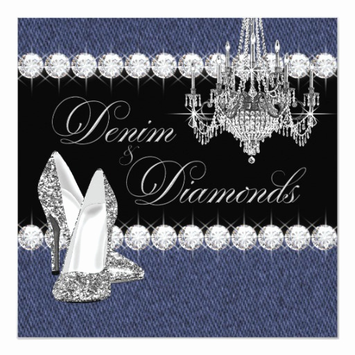 Denim and Diamonds Invitation Templates Luxury Elegant Denim and Diamonds Party Invitation